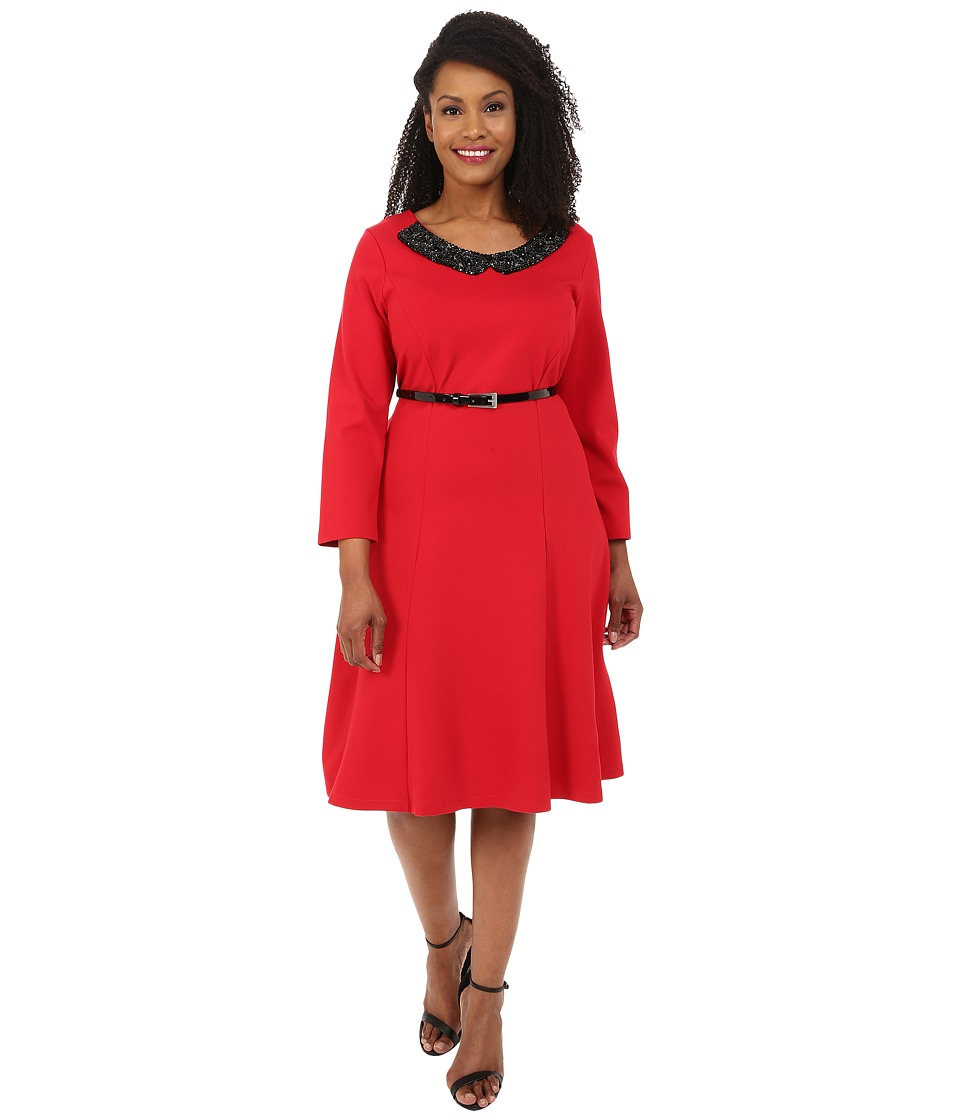 Poppy & Bloom - Plus Size Embellish the Truth Dress w/ Applique (Red) Women's Dress
