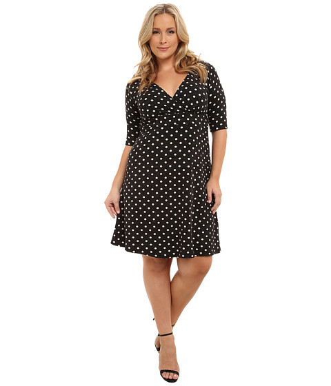 Poppy & Bloom - Plus Size Empire State Dress (Black Polka Dot) Women's Dress