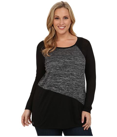 DKNY Jeans - Plus Size Marled Color Block Sweater Knit Top (Noir) Women