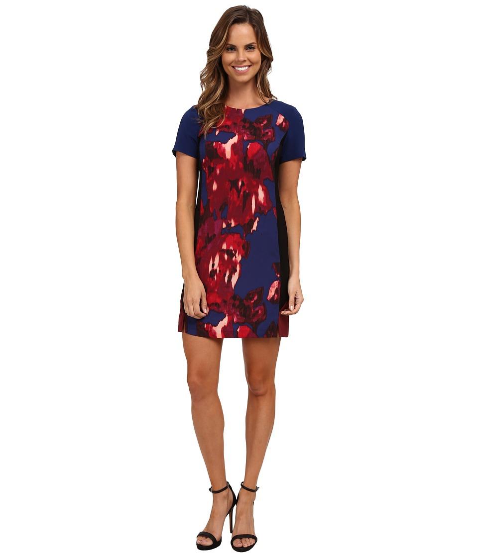 DKNYC - Macro Floral Crepe Color Block Dress (Prussian Blue) Women's Dress