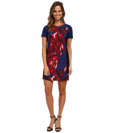 DKNYC - Macro Floral Crepe Color Block Dress (Prussian Blue) Women