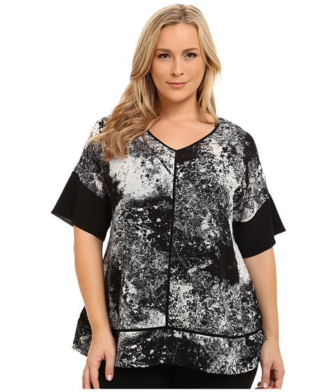 DKNY Jeans - Plus Size Mineral Print Color Block Top (Noir) Women's Clothing
