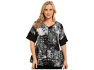 DKNY Jeans Plus Size Mineral Print Color Block Top