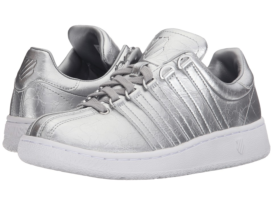 KSwiss Classic VN Aged Foiltm Silver White Leather Womens Shoes