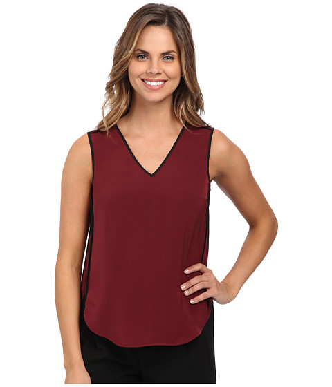 DKNYC - Tech Crepe Sleeveless Contrast Piping Blouse (Barolo) Women