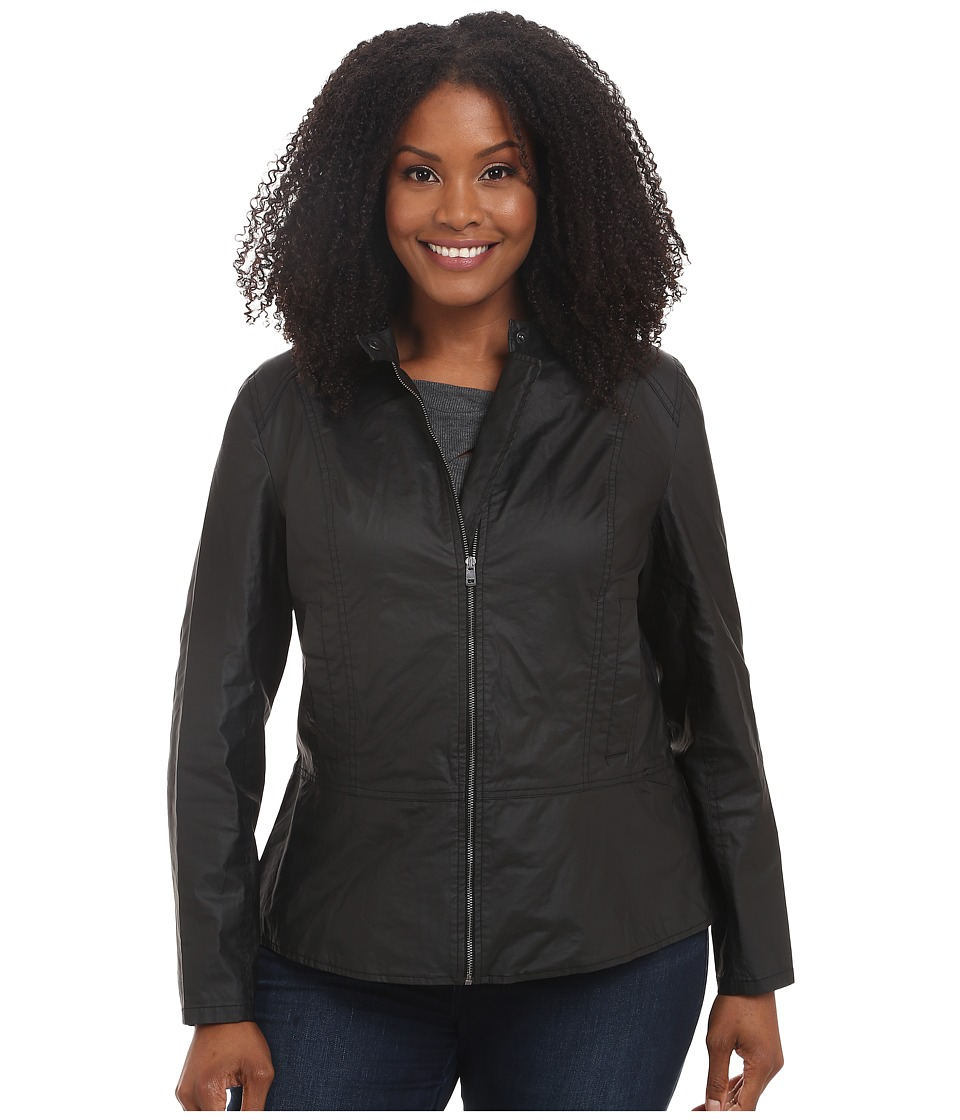 DKNY Jeans - Plus Size Coated Moto Jacket (Noir) Women's Coat