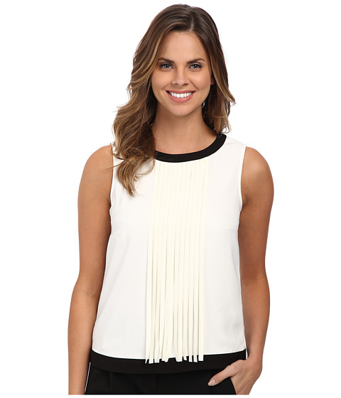 DKNYC - Tech Crepe Sleeveless Fringed Top (Ivory) Women