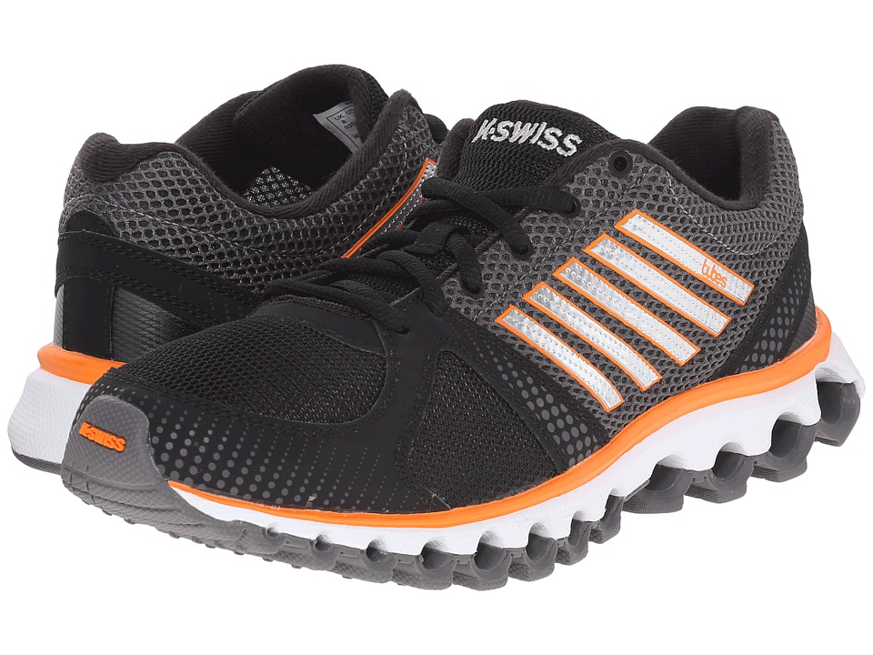 K-Swiss - X-160 Tubes (Black/Charcoal/Vibrant Orange Mesh) Men's Tennis Shoes