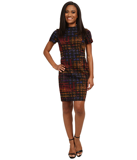 Tahari by ASL Petite - Petite Houndstooth Printed Ponte Dress (Black/Dijon/Iris) Women