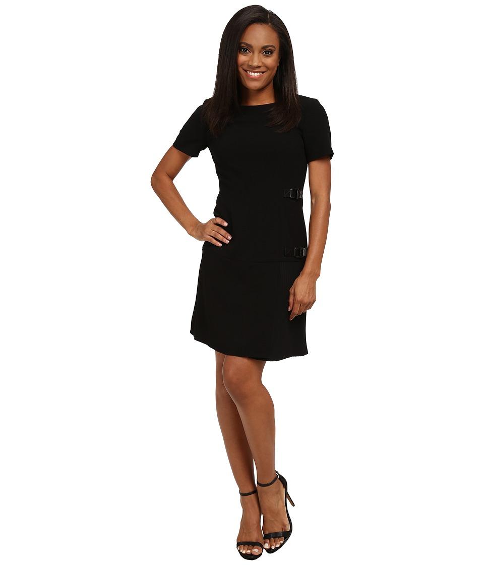 Tahari by ASL Petite - Petite Crepe Leather and Pleating Detail Dress (Black) Women