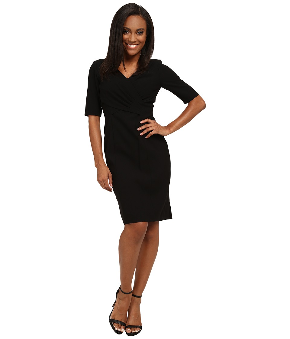 Tahari by ASL Petite - Petite Cross Front 3/4 Sleeve Dress (Black) Women