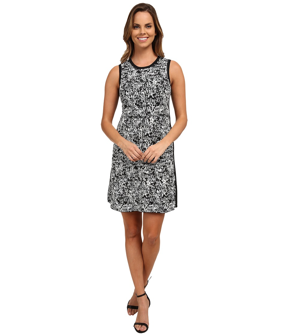 DKNYC - Compact Stretch Pixel Mix Sweater Dress (Black) Women's Dress