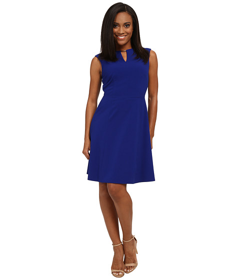 Tahari by ASL Petite - Petite Bi-Stretch Keyhole Neck Dress (Cobalt) Women
