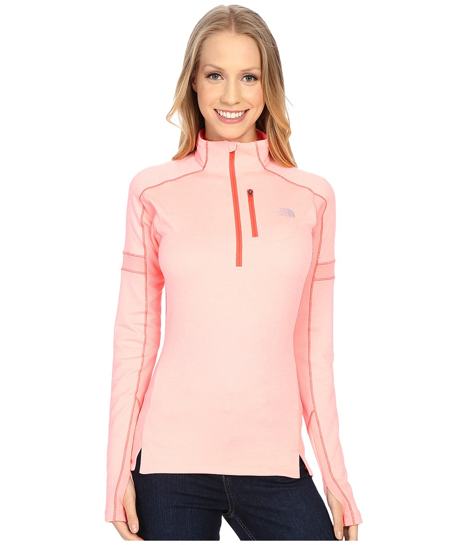 The North Face - Impulse Active 1/4 Zip Pullover (Neon Peach Heather/Neon Peach) Women's Long Sleeve Pullover