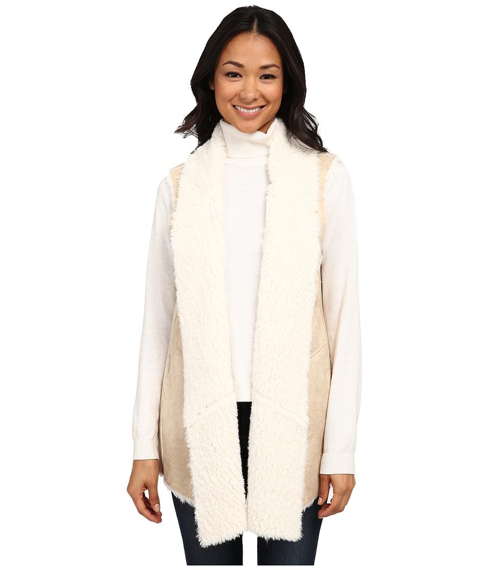 DKNYC - Faux Fur Bonded Shearling Vest (Ecru) Women's Vest
