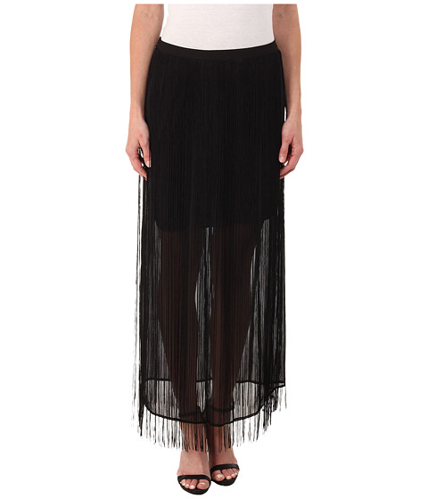 DKNYC - Fringed Maxi Skirt (Black) Women's Skirt