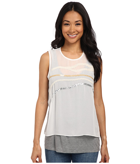 DKNYC - Lightweight Jersey Top w/ Embellished Chiffon Overlay (Dark Shimmer Heather) Women's Sleeveless