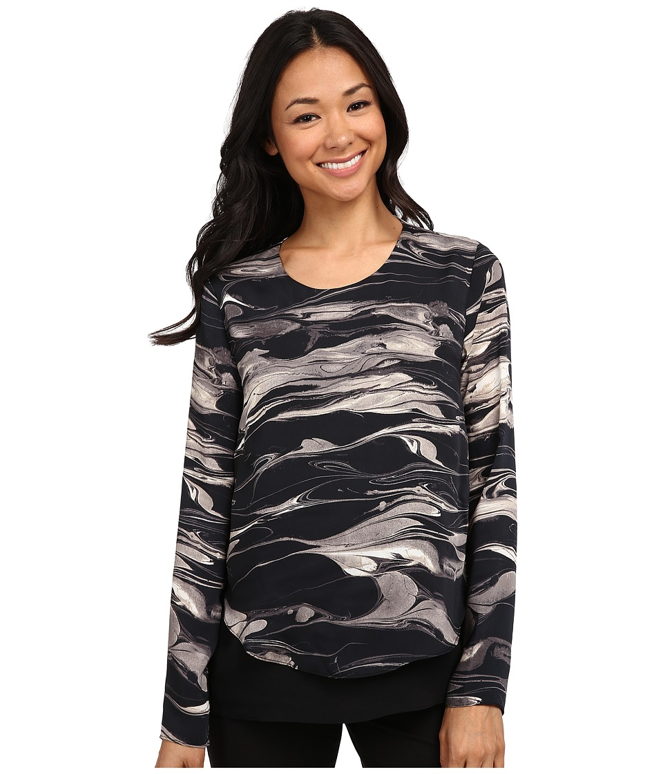 DKNYC - Marbled Ink Crinkle Sheer Double Layer Blouse (Black) Women's Blouse