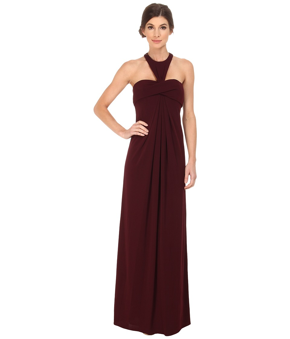JILL JILL STUART Hatler Neck Racer Back Matte Jersey Gown Plum Dress