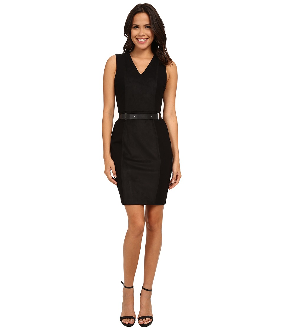DKNYC - Ponte Faux Suede Panel Dress (Black) Women