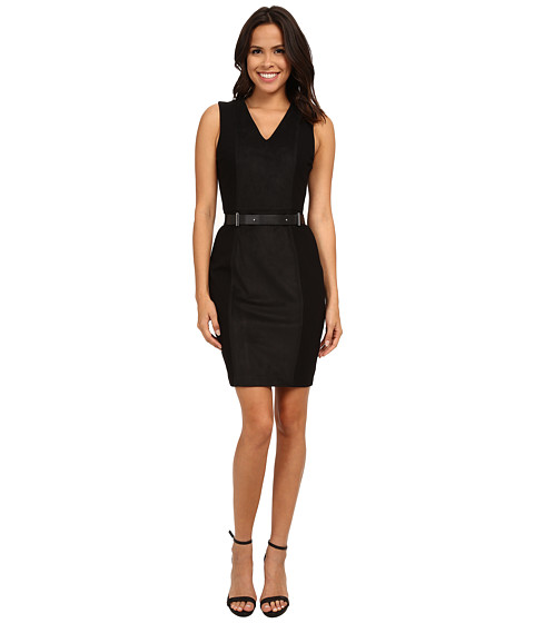 DKNYC - Ponte Faux Suede Panel Dress (Black) Women's Dress