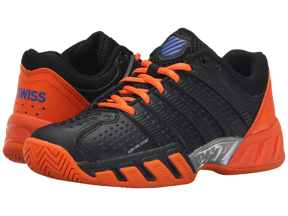 K-Swiss Kids - Bigshot Light 2.5 Tennis (Big Kid) (Black/Vibrant Orange/Electric Blue Synthetic Leather) Boys Shoes