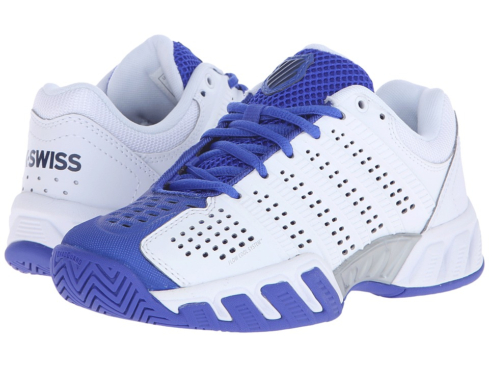 K-Swiss Kids - Bigshot Light 2.5 Tennis (Big Kid) (White/Electric Blue/Dress Blues Synthetic Leather) Boys Shoes