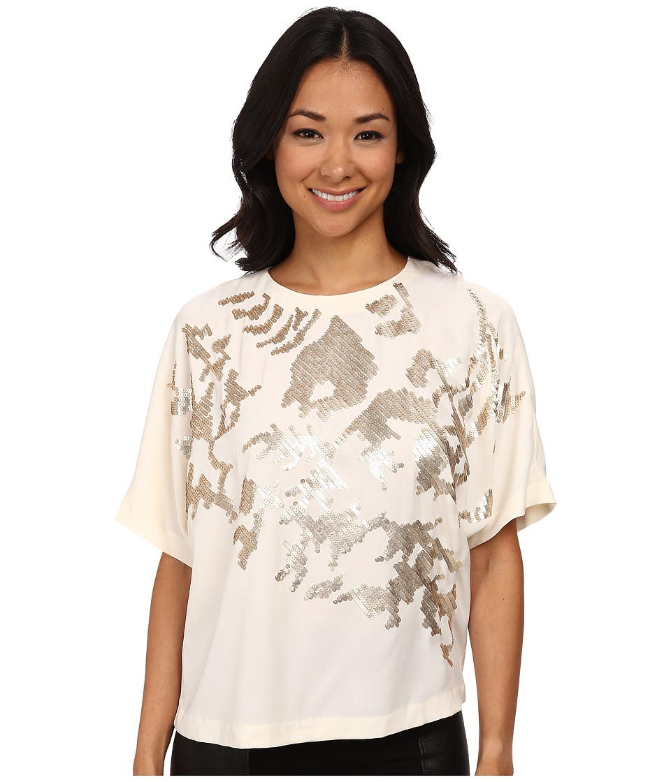 DKNYC - Tech Crepe Embellished Front Top (Ecru) Women's Blouse