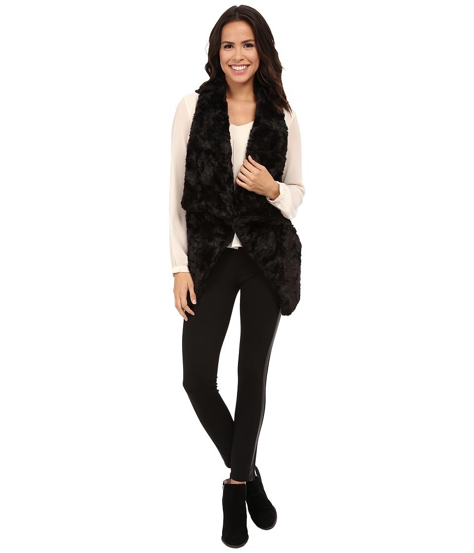 DKNYC - Lush Faux Fur Vest (Black) Women's Vest