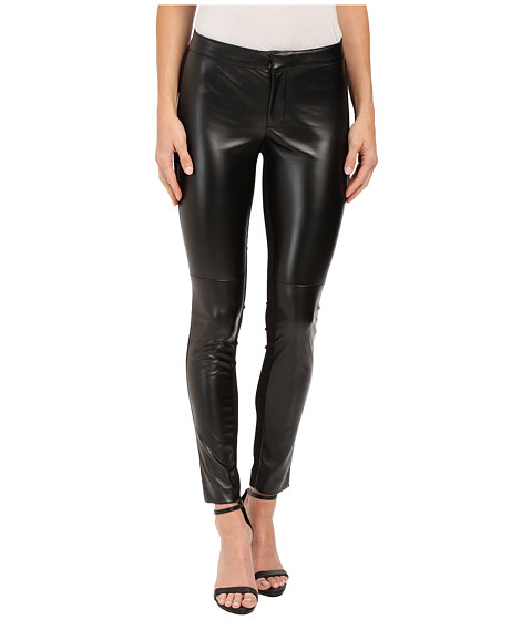 DKNYC - Faux Leather Skinny Ankle Ponte Pant (Black) Women's Dress Pants