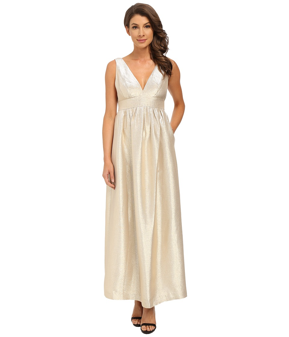 JILL JILL STUART Sleeveless Double-V Lurex Satin Gown Gold Dress