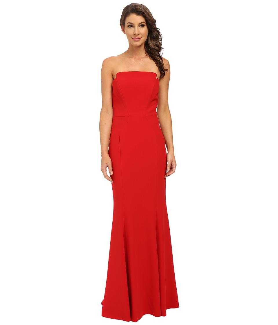JILL JILL STUART - Strapless Crepy Fitted Column Gown (Garnet) Women's Dress