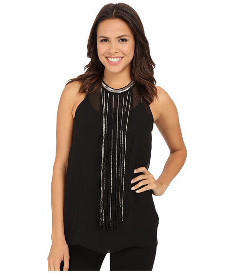 DKNYC - Jersey Chiffon Top w/ Fringe Beading (Black) Women's Sleeveless