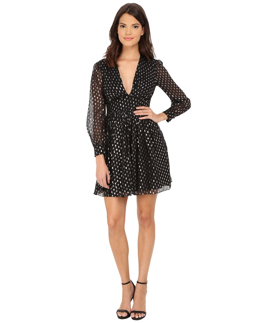 JILL JILL STUART - Short Deep-V Long Sleeve Clip Dot Dress (Black/Silver) Women's Dress
