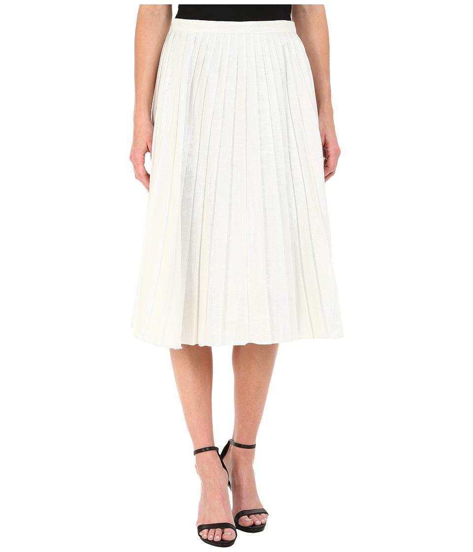 DKNYC - Liquid Lame Pleated Skirt (White) Women