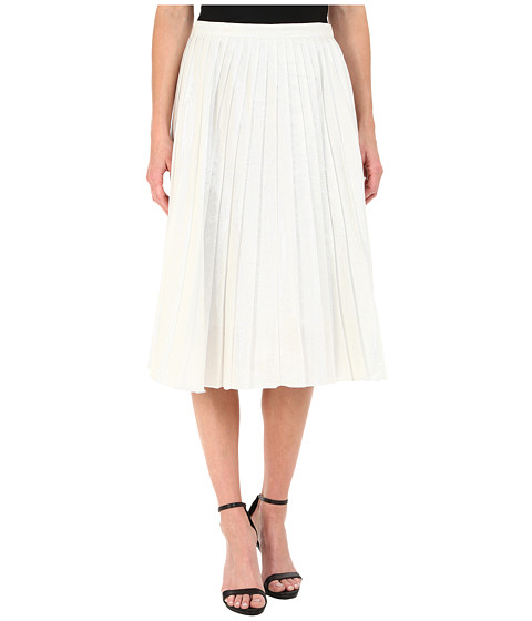 DKNYC - Liquid Lame Pleated Skirt (White) Women's Skirt