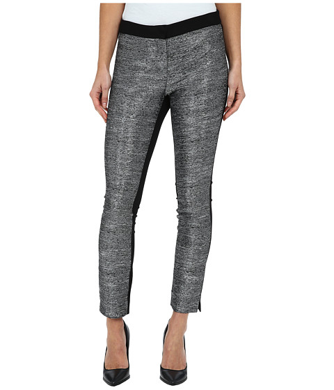DKNYC - Metallic Slub Ponte Back Pant (Black) Women's Dress Pants