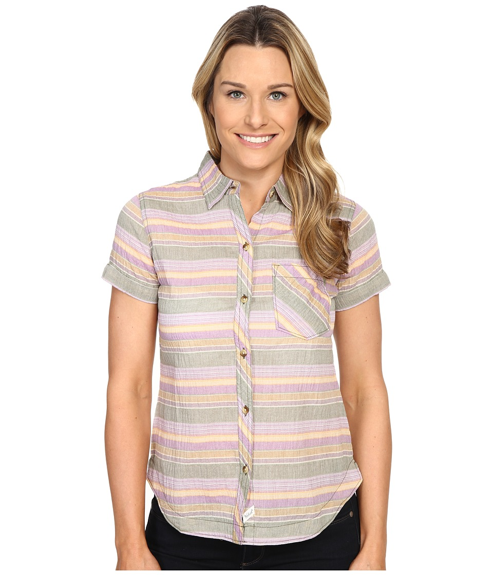 Woolrich - Spring Fever S/S Shirt (Eucalyptus Stripe) Women's Short Sleeve Button Up