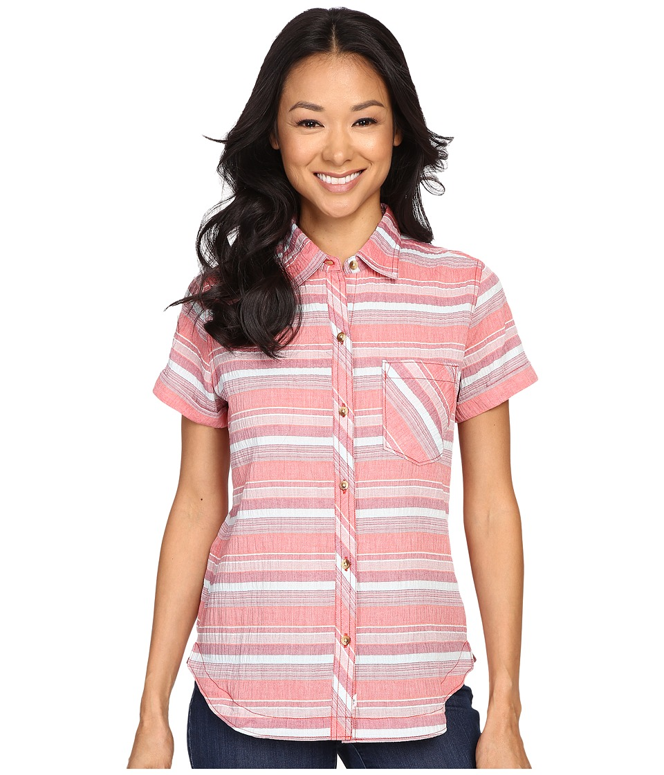 Woolrich - Spring Fever S/S Shirt (Hot Guava Stripe) Women's Short Sleeve Button Up
