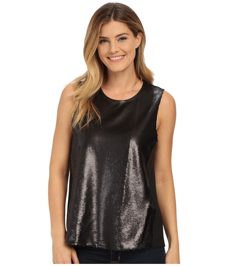 DKNYC - Soft shine Sequin CDC Back Top (Black) Women