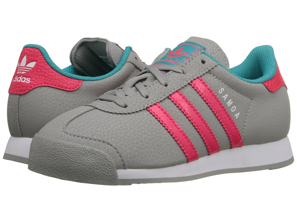 adidas Originals Kids - Samoa C (Little Kid) (MGH Solid Grey/Pink/Shock Green) Girls Shoes