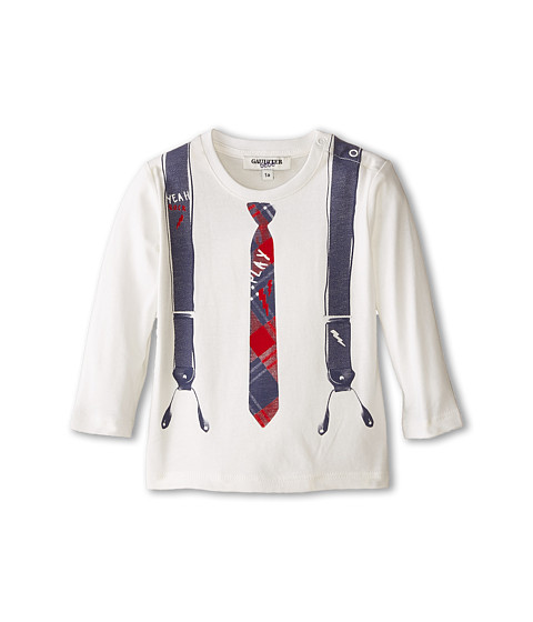 Junior Gaultier - Pierinot Tie and Suspenders Print T-Shirt (Infant) (Ecru) Boy's Clothing