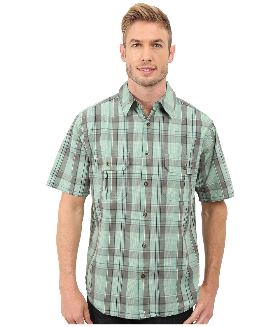 Woolrich - Midway Yarn-Dye S/S Shirt (Faded Aqua) Men's Short Sleeve Button Up