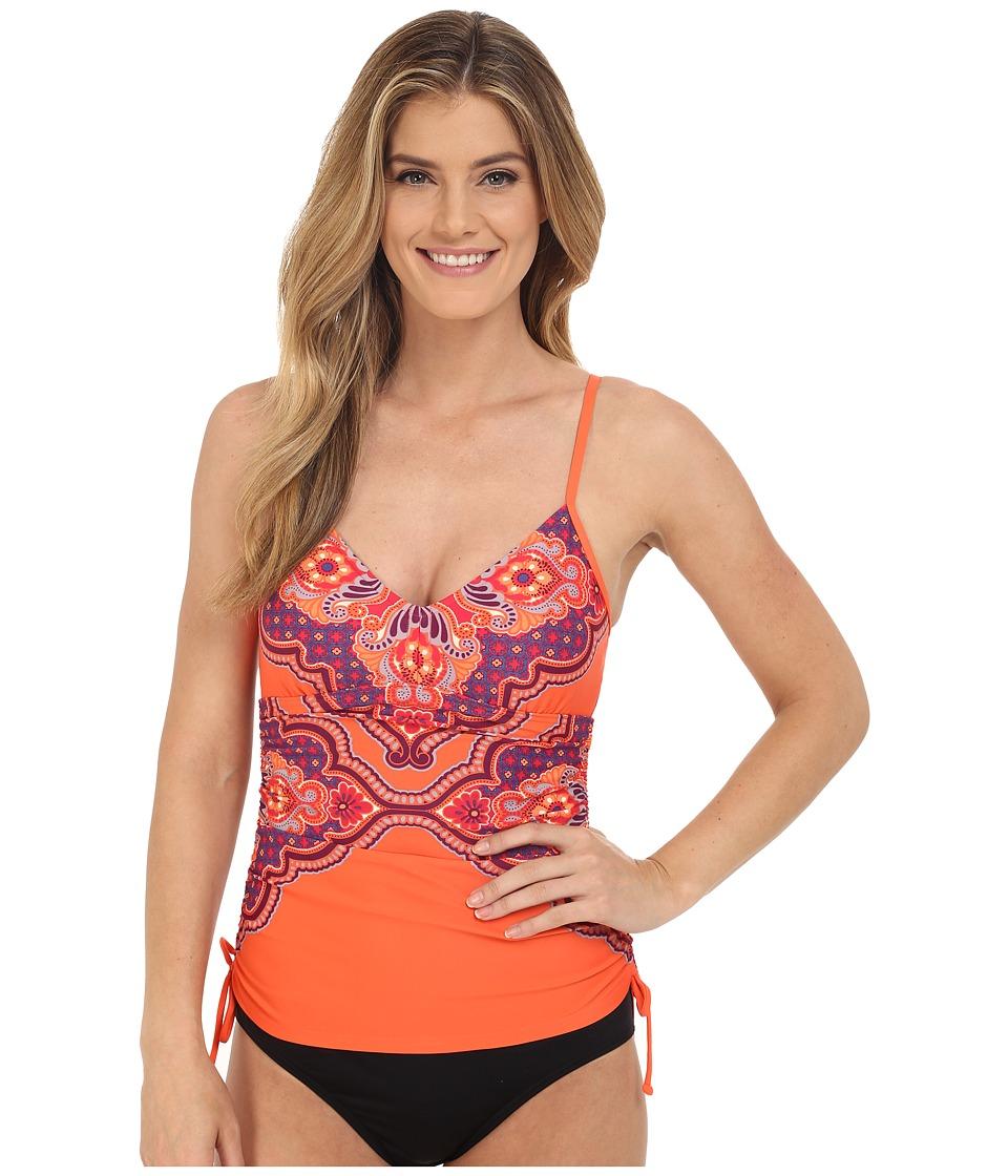 Prana - Moorea Tankini Top (Neon Orange Jasmine) Women's Swimwear
