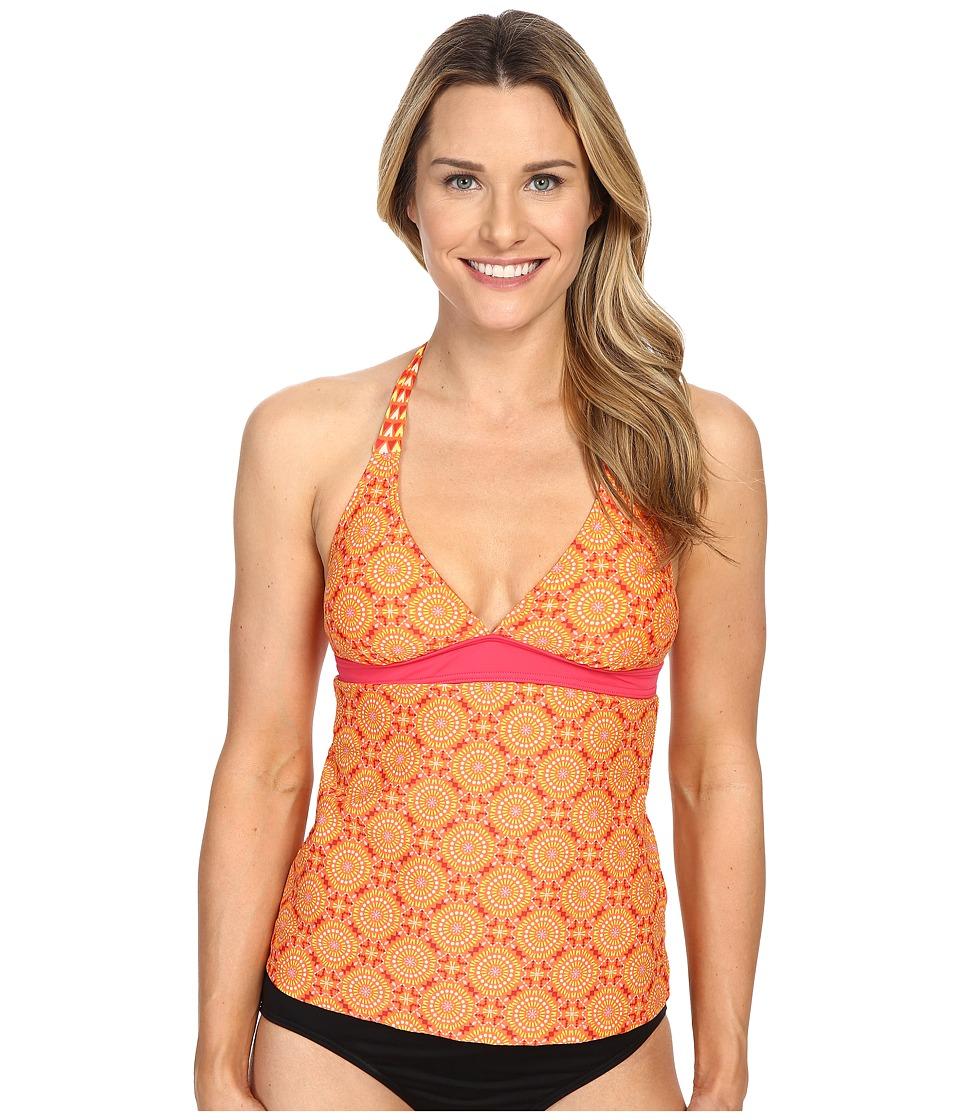 Prana - Lahari Tankini Top (Neon Orange Sundial) Women's Swimwear