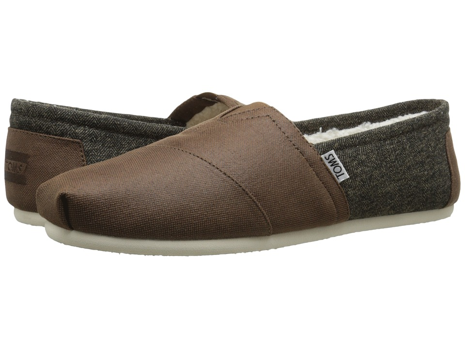 TOMS - Seasonal Classics (Dark Earth Coated Canvas/Shearling) Men's Slip on Shoes