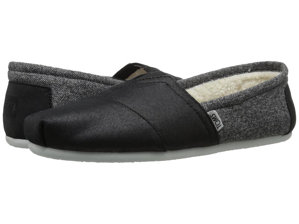 TOMS - Seasonal Classics (Black Coated Canvas/Shearling) Men's Slip on Shoes