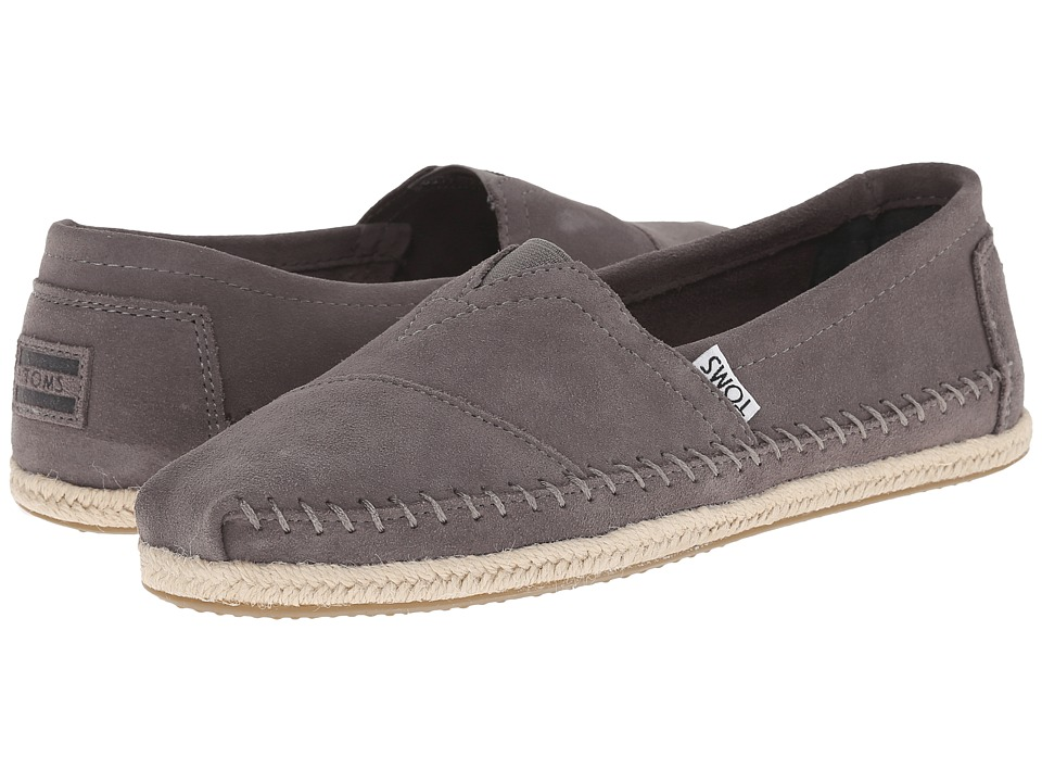 TOMS - Rope Sole Classics (Grey Suede Rope Sole) Men's Slip on Shoes