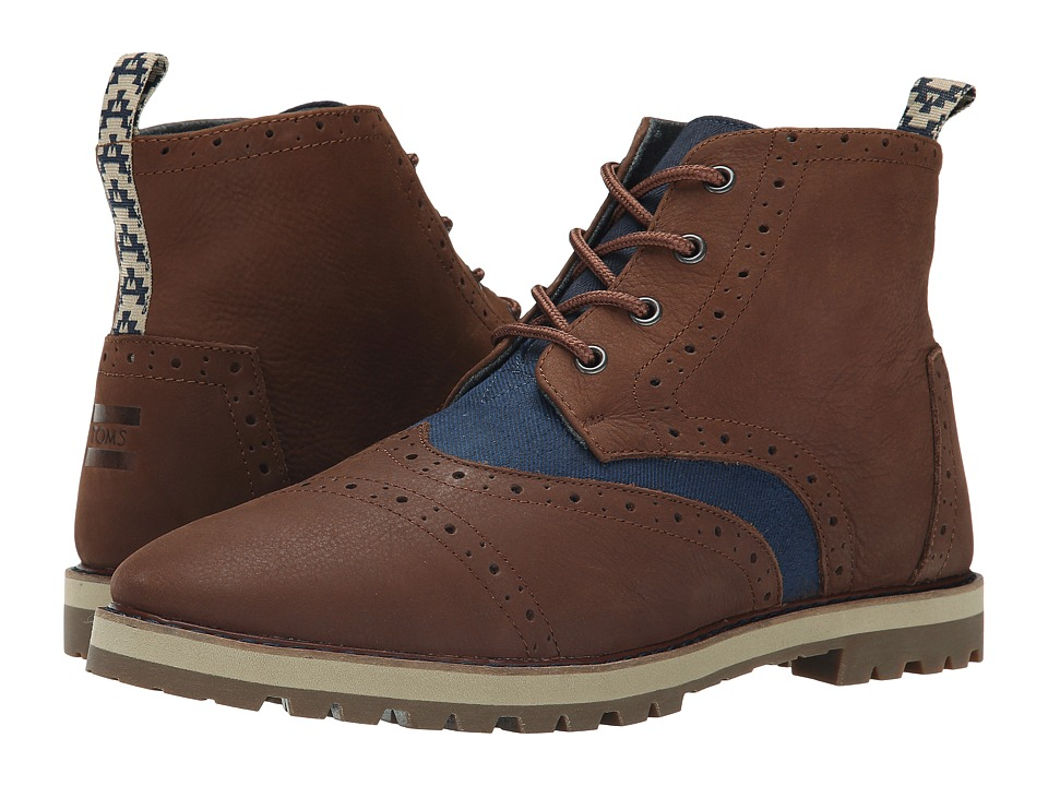 TOMS - Brogue Boot (Chestnut Brown Full Grain Leather/Navy Herringbone) Men's Lace-up Boots