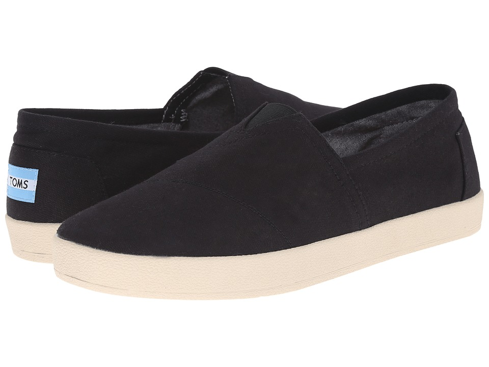 TOMS - Avalon Sneaker (Black Canvas) Men's Slip on Shoes